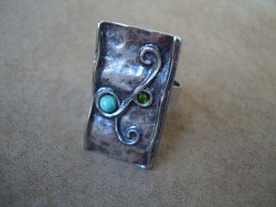 07505 Кольцо «Бирюзовые кружева»